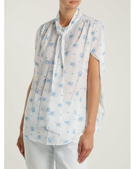 Twisted-sleeve floral-print crepe blouse Balenciaga Discounts Cheap Sale Outlet Store SSUIEs9W