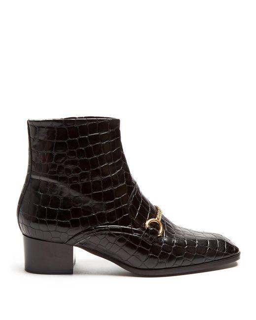 Stella McCartney - Black Crocodile-effect Faux-leather Ankle Boots - Lyst