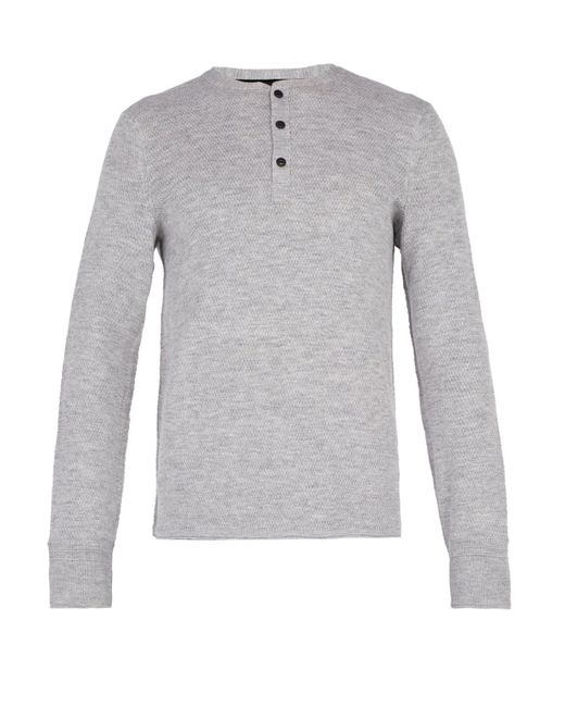 Rag & Bone - Gray Gregory Wool Blend Henley Sweater for Men - Lyst
