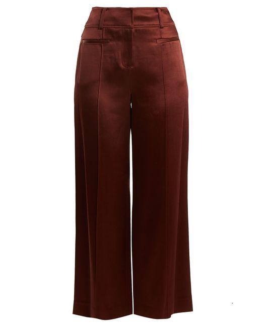 Diane von Furstenberg - Brown Satin Wide-leg Pants - Lyst
