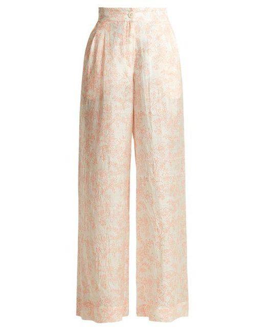 Loulou Lace-Print Silk Wide-Leg Pants Thierry Colson JFRPxOia