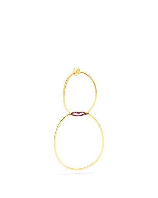 Delfina Delettrez - Metallic Ruby & Yellow-gold Single Earring - Lyst