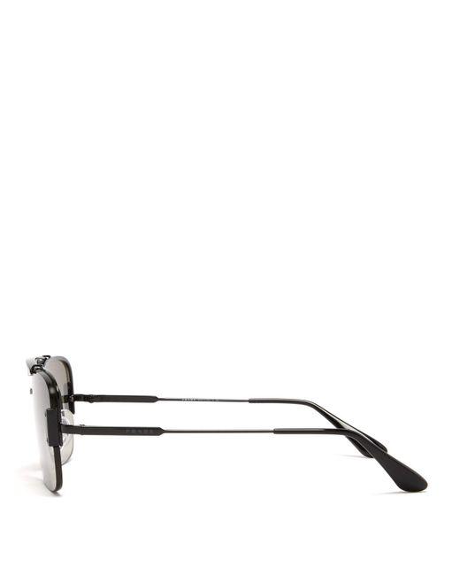 e45bb0969328 ... Prada - Black Aviator Metal Sunglasses for Men - Lyst ...