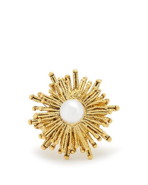Oscar de la Renta | Metallic Faux-pearl Embellished Sun-star Ring | Lyst