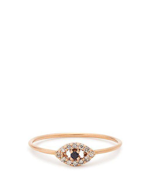Ileana Makri - Metallic Diamond, Sapphire & Rose Gold Ring - Lyst