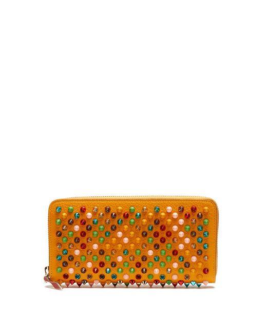 Christian Louboutin - Orange Panettone Spike Embellished Leather Wallet - Lyst