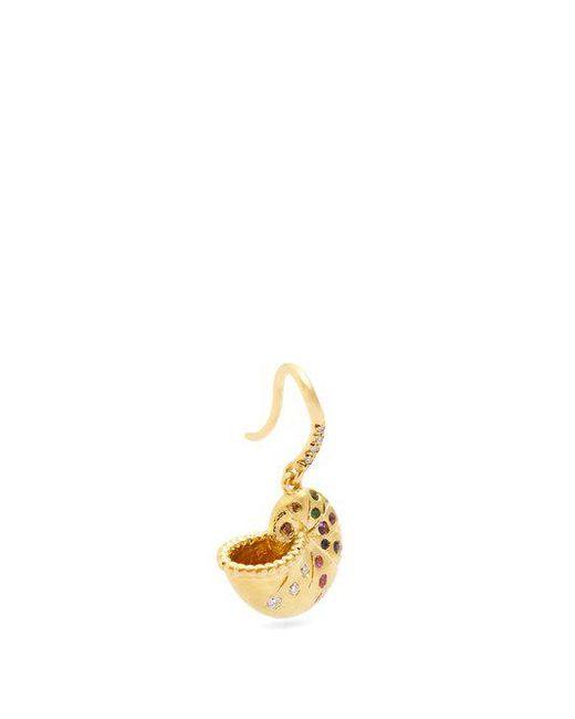 Aurelie Bidermann - Multicolor Diamond, Multi-stone & Yellow-gold Earring - Lyst
