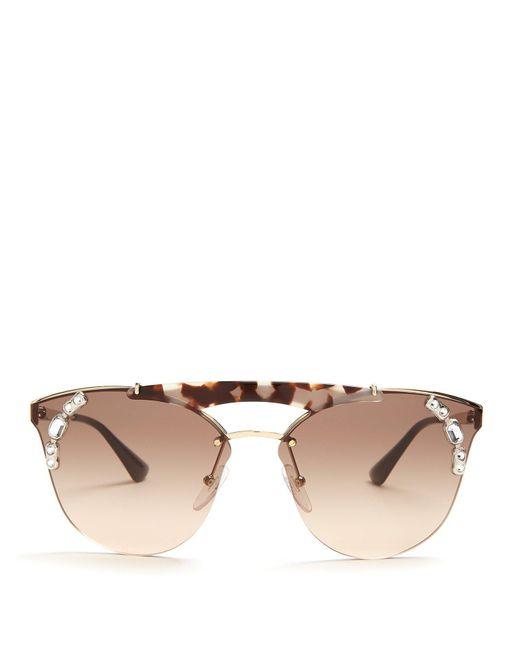 Prada - Brown Embellished Aviator Metal Sunglasses - Lyst