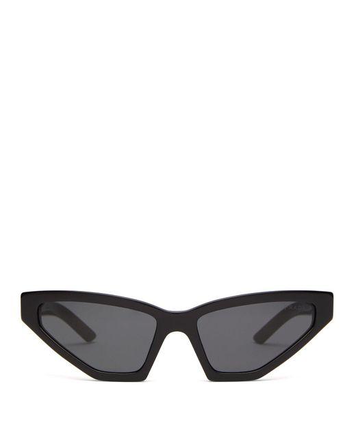 5f44eb93b19b Prada - Black Angular Cat Eye Acetate Sunglasses - Lyst ...