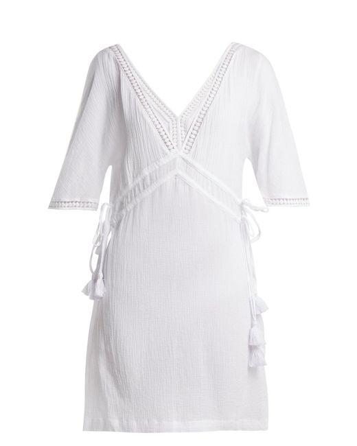 Heidi Klein - White Moorea Lace-trimmed Cotton Shirtdress - Lyst