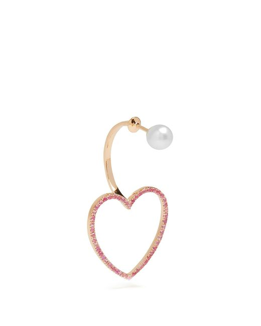 Delfina Delettrez - Sapphire, Pearl & Pink-gold Earring - Lyst