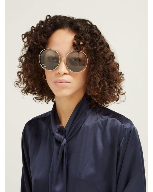 aed4c4e65b09 ... Chloé - Blue Carlina Oversized Round Metal Sunglasses - Lyst ...