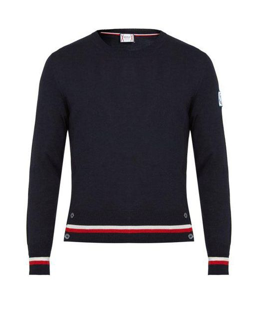 Moncler Gamme Bleu - Blue Contrast-striped Cashmere And Silk-blend Sweater for Men - Lyst