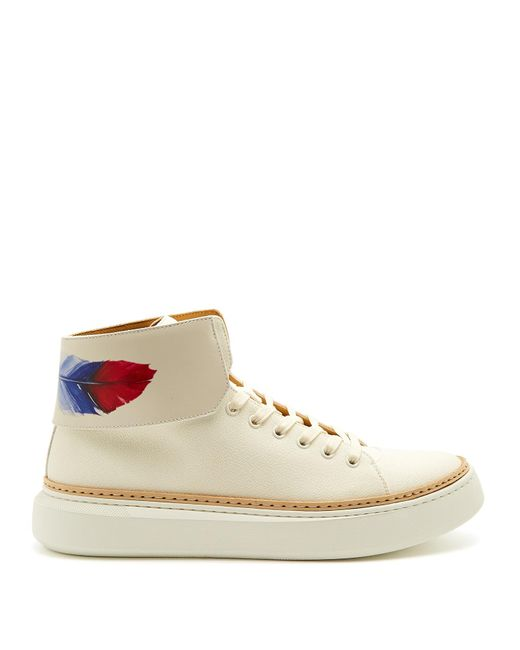 Buscemi | White 90mm Crepone High-top Leather Trainers for Men | Lyst