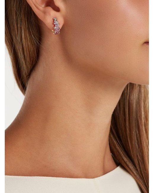 18kt gold, diamond & sapphire single earring Ana Khouri