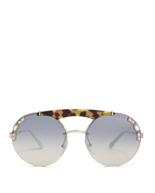 Prada - Metallic Embellished Round Frame Metal Sunglasses - Lyst