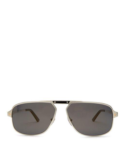 2fbb0701bc Cartier - Metallic Santos De Cartier Aviator Sunglasses for Men - Lyst ...