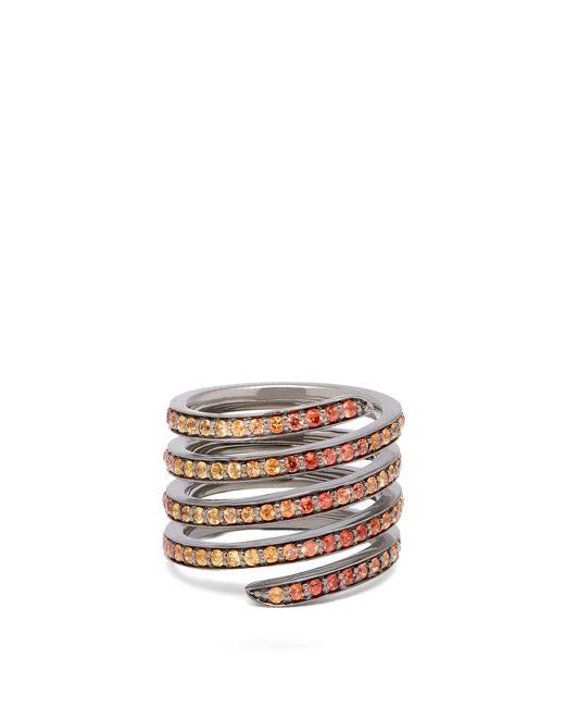 Lynn Ban - Metallic Ombré Sapphire & Rhodium Coil Ring - Lyst