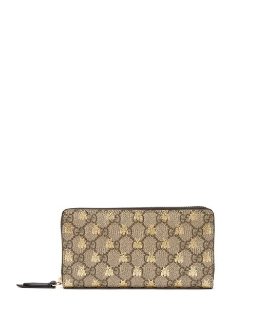 Gucci - Natural GG Supreme Logo And Bee Wallet - Lyst