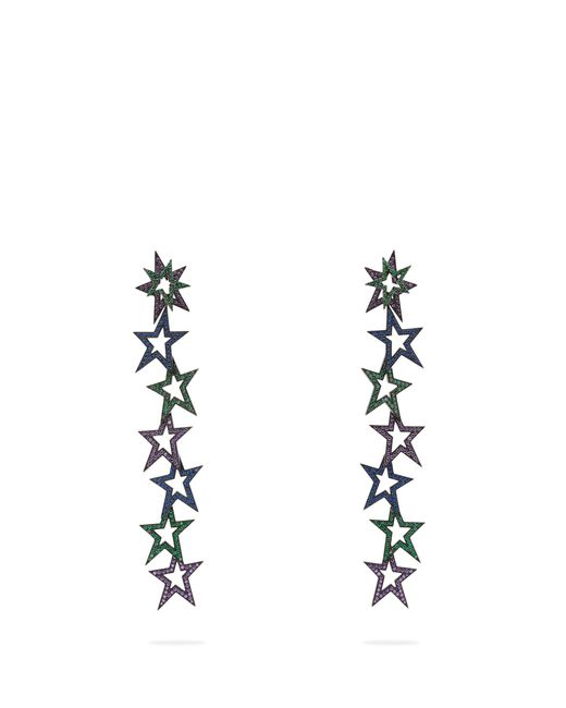 Lynn Ban - Multicolor Staggered Stardust Tsavorite & Rhodium Earrings - Lyst
