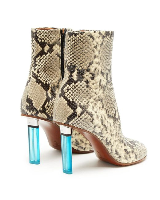 2b50eec5f ... Vetements - Multicolor Python Effect Lighter Heel Leather Ankle Boots -  Lyst ...