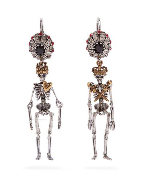 Alexander McQueen - Metallic Queen And King Skeleton Earrings - Lyst