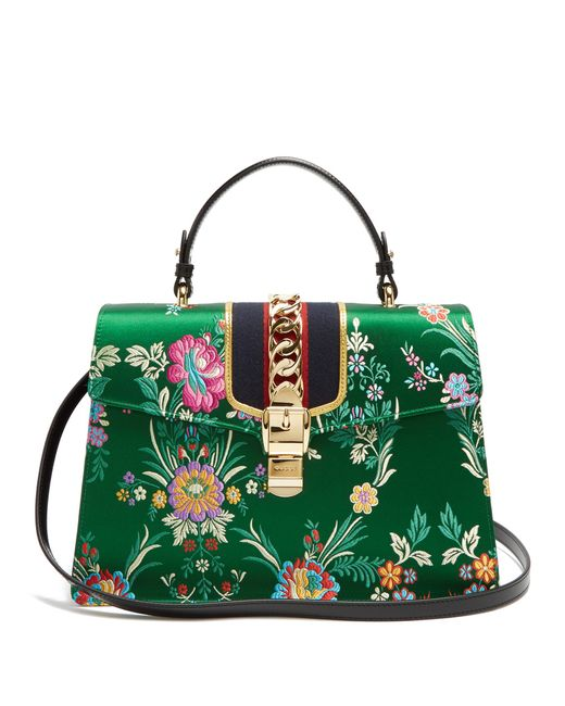 bf9ea5e3ce Lyst - Gucci Sylvie Floral Jacquard Top Handle Bag in Green - Save 29%