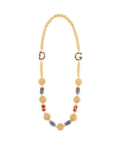 Dolce & Gabbana - Metallic Charm Embellished Chain Necklace - Lyst