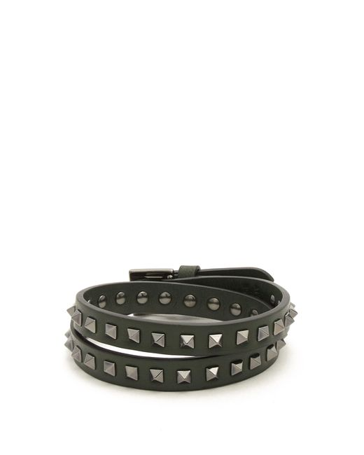 Valentino | Multicolor Wraparound Rockstud-embellished Leather Bracelet for Men | Lyst