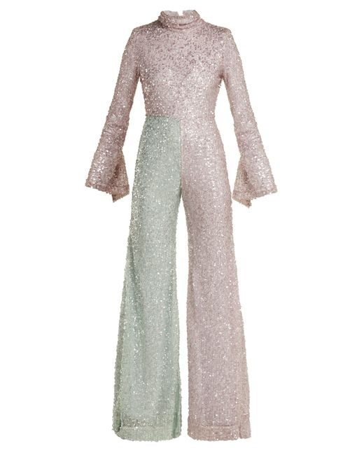 Halpern - Multicolor Flared Sequin Jumpsuit - Lyst