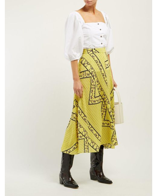 6ba541abd Ganni Hemlock Bandana Print Silk Blend Skirt in Yellow - Save 40% - Lyst