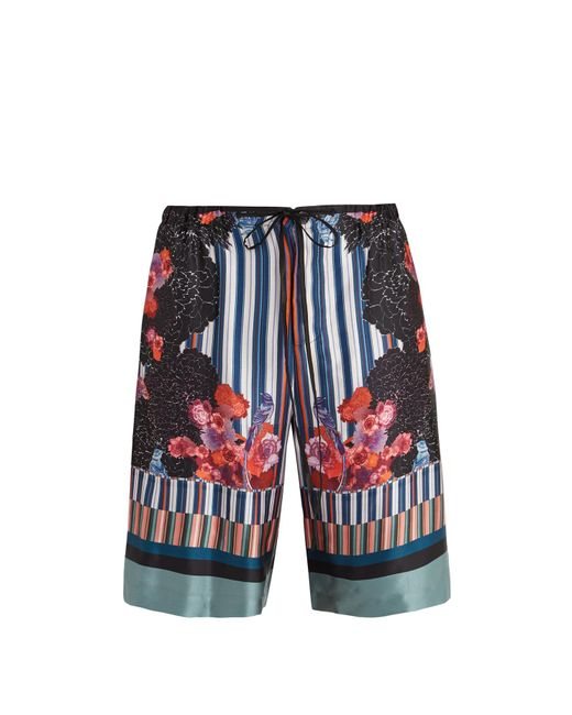 Meng | Multicolor Floral-print And Striped Silk-satin Pyjama Shorts for Men | Lyst
