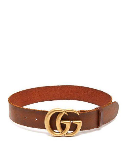 c1efb9209 ... Gucci - Brown Gg-logo 4cm Leather Belt - Lyst ...