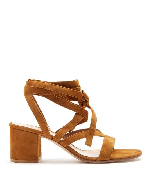 Gianvito Rossi | Brown Janis Suede Sandals | Lyst