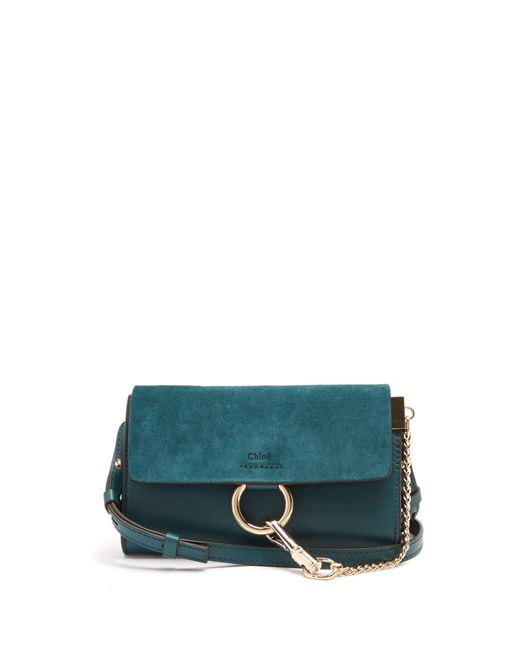 99919822fe59 CHLOE Suede Calfskin Mini Faye Shoulder Bag Happy Green 187332. Chloé Faye  Mini Leather And Suede Cross-body Bag in Green .