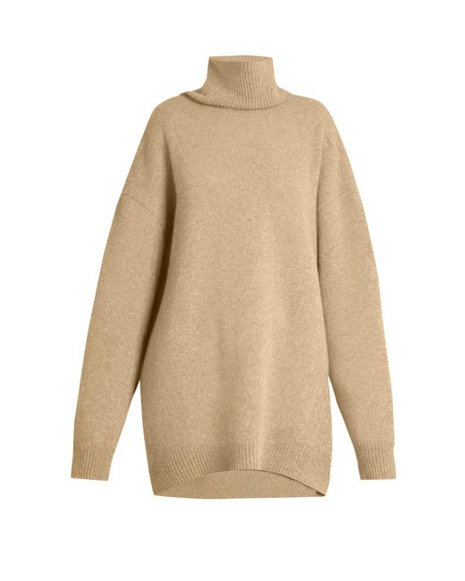 Raey - Natural Displaced-sleeve Roll-neck Wool Sweater - Lyst