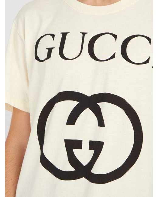 5bf249f37 ... Gucci - White Logo Print Cotton T Shirt for Men - Lyst