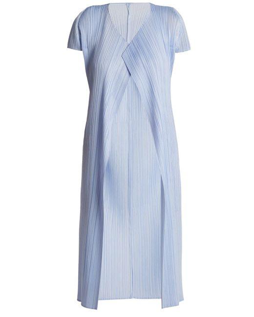 Pleats Please Issey Miyake - Blue Short Sleeved Pleated Jacket - Lyst