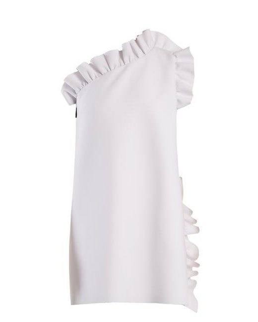 MSGM - White One-shoulder Ruffle-trimmed Crepe Dress - Lyst ...