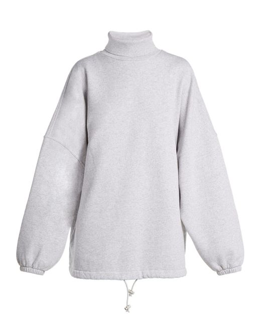 Balenciaga - Gray Oversized Roll Neck Cotton Sweatshirt - Lyst