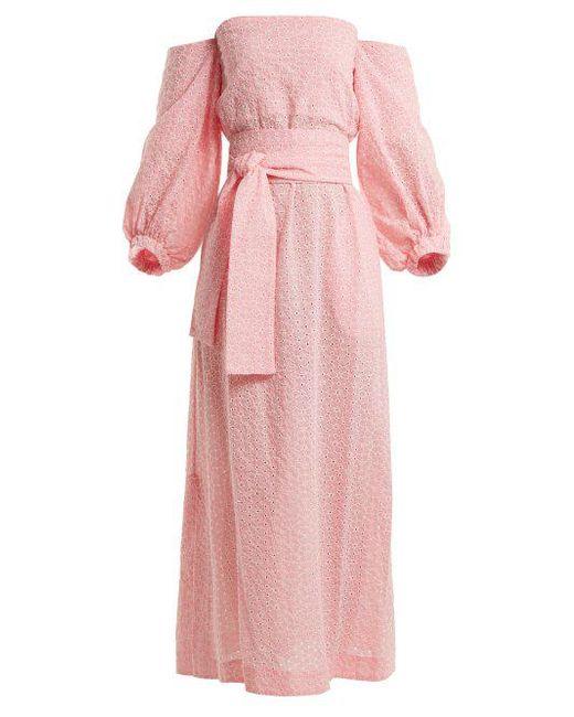e698890bdda Lisa Marie Fernandez - Pink Rosie Broderie-anglaise Cotton Dress - Lyst ...