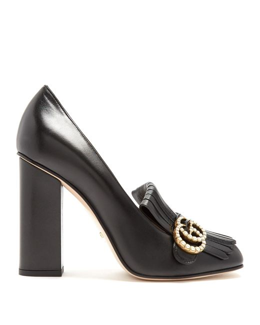 Gucci | Black Marmont Fringed Leather Pumps | Lyst