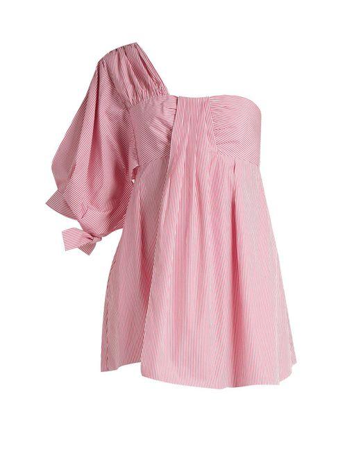Teija - Pink One Shoulder Striped Cotton Poplin Top - Lyst