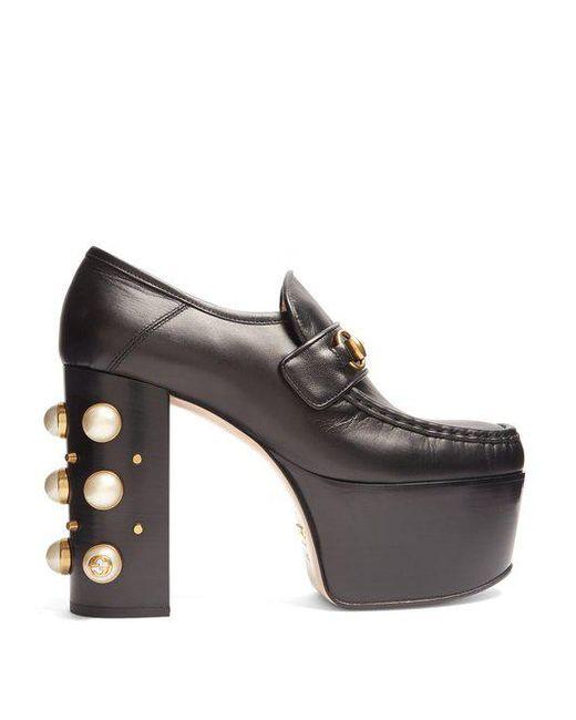 Gucci - Black Vegas Leather Platform Loafers - Lyst
