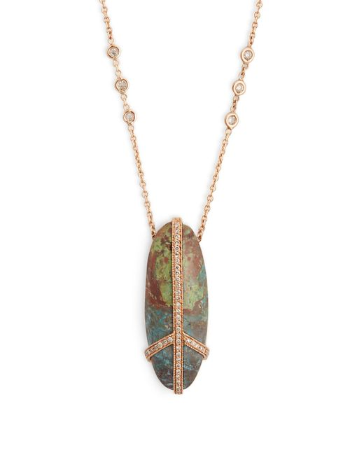 Jacquie Aiche | Blue Diamond, Turquoise & Rose-gold Necklace | Lyst