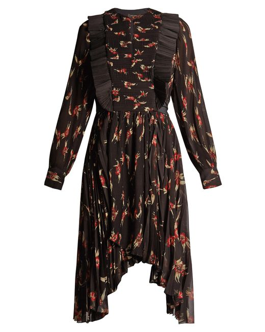Isabel Marant | Black Wesley Floral-print Pleated Dress | Lyst
