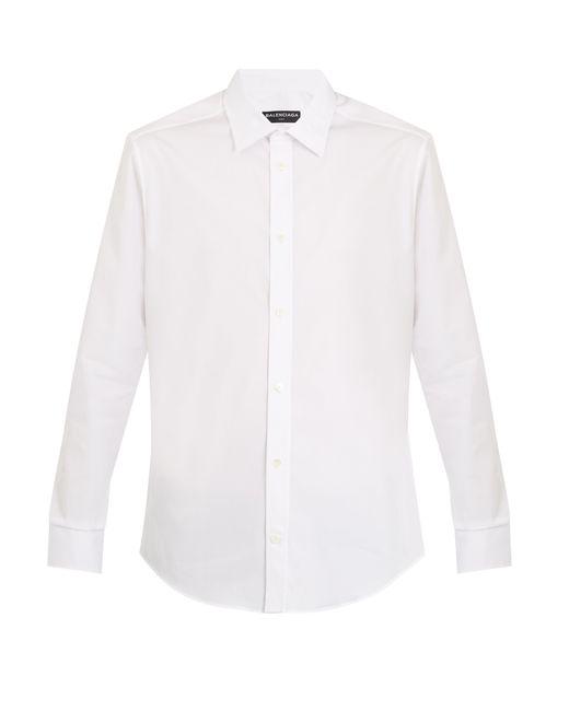 Balenciaga - White Point-collar Single-cuff Cotton Shirt for Men - Lyst