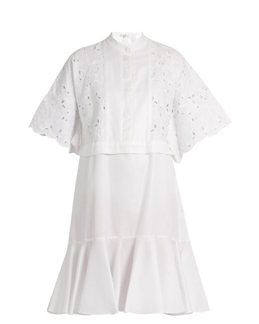 Erdem - White Kathy Half-placket Broderie-anglaise Dress - Lyst