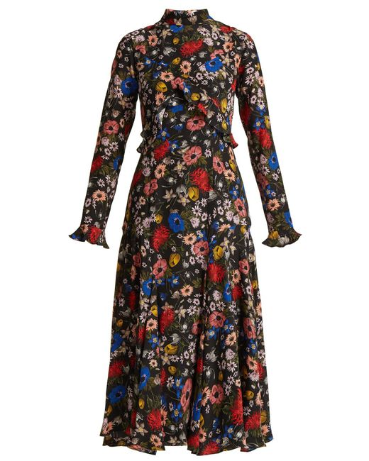 Erdem - Black Cordelia Lismore Garden-print Silk Dress - Lyst