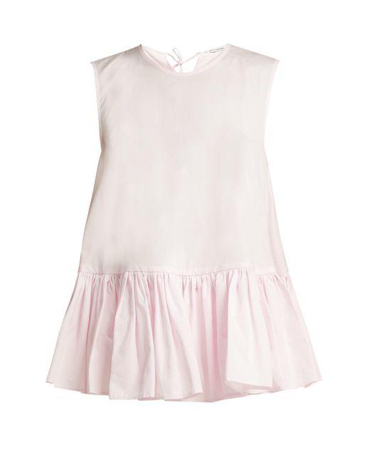 CECILIE BAHNSEN - Pink Asta Ruffle Hem Cotton Top - Lyst
